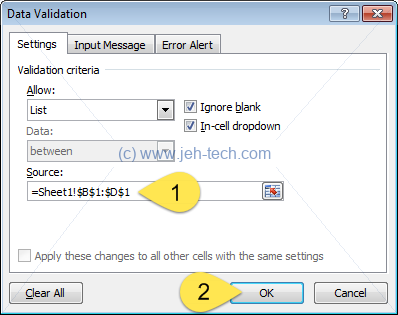 Screenshot of Excel spreadsheet Data Validation Dialog Window