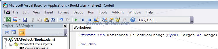 Excel Worksheet_SelectionChange function