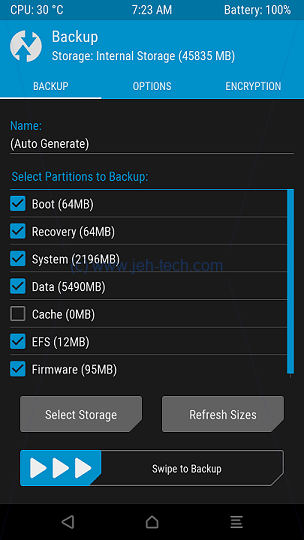Screenshot of TRWP recovery backup selection screen